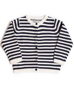 Marineblå/hvit stripet genser